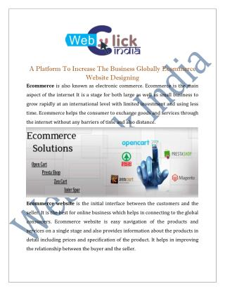 Ecommerce Website Designing Company in Delhi India
