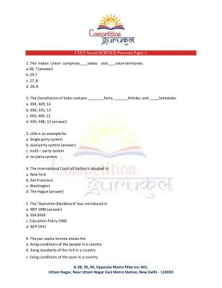 CTET Social SCIENCE Previous Paper 2