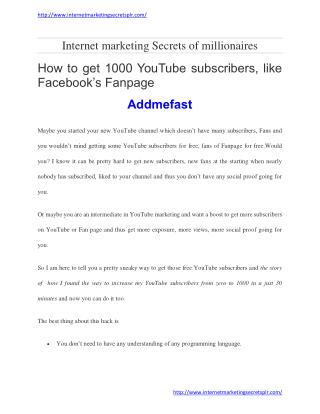How to get 1000 youtube subscribers, like facebook