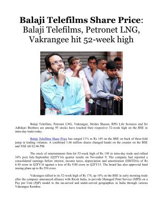 Balaji Telefilms Share Price: Balaji Telefilms, Petronet LNG, Vakrangee hit 52-week high