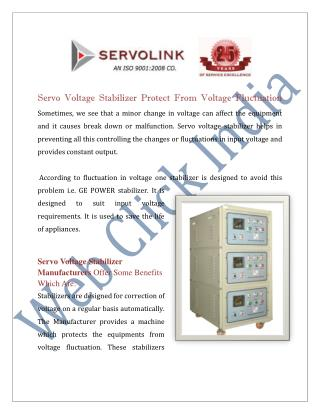 Servo Voltage Stabilizer Manufacturers Delhi