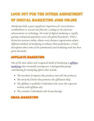 Digital-Email-Internet Marketing - Wisdom Jobs