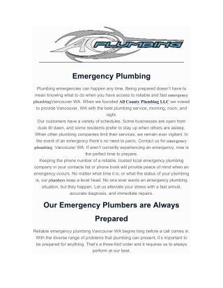 emergency plumbing vancouver wa