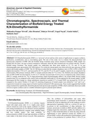 Chromatographic, Spectroscopic, and Thermal Characterization of Biofield Energy Treated N, N-Dimethylformamide
