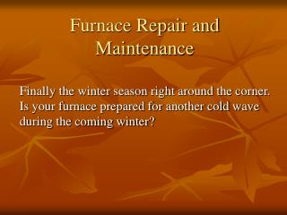 Furnace Repair Service in Denver