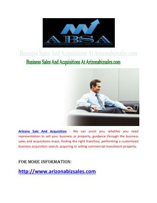 Business Sales And Acquisitions At Arizonabizsales.com