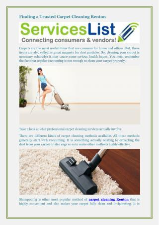 Finding a Trusted Carpet Cleaning Renton