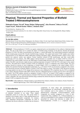 Physical, Thermal and Spectral Properties of Biofield Treated 3-Nitroacetophenone