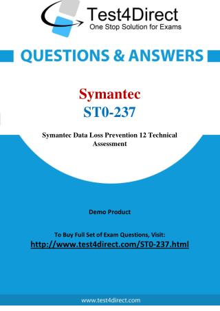 Symantec ST0-237 Test - Updated Demo