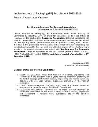 Indian Institute of Packaging (IIP) Recruitment 2015-2016 Research Associates Vacancy