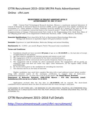 CFTRI Recruitment 2015–2016 SRF-PA Posts Advertisement Online - Cftri.com