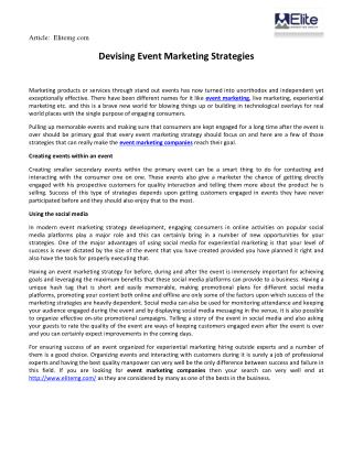 Devising Event Marketing Strategies