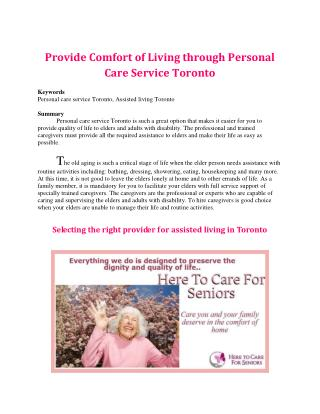 Provide Comfort of Living through Personal Care Service Toronto