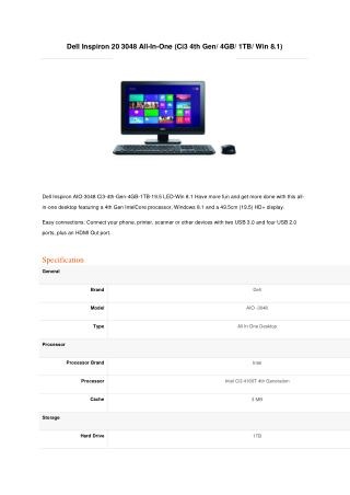 Dell Inspiron 20 3043 All-In-One-PQC-2GB-500GB-Win8.1