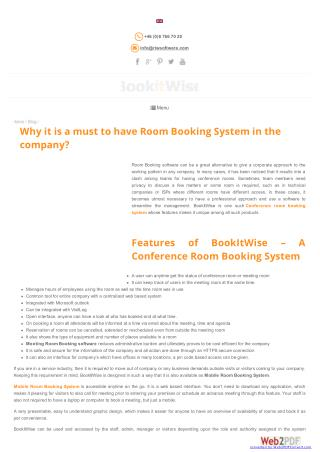 Why it is a must to have Room Booking System in the company?