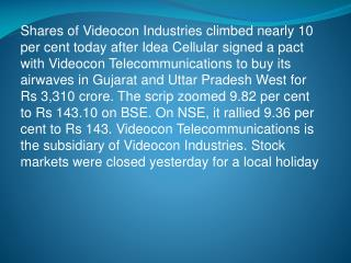 Videocon Industries Shares Jump Nearly 10% on Spectrum Deal with Idea