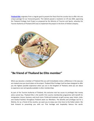 Get The Best Package Of Thailand Elite