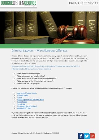 Criminal Lawyers – Miscellaneous Offences