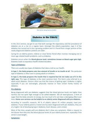 Diabetes in the Elderly