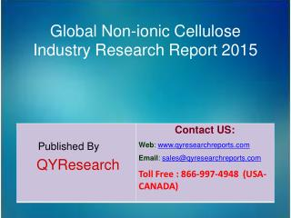 Global Non-ionic Cellulose Market 2015 Industry Trends, Analysis, Outlook, Development, Shares, Forecasts and Study