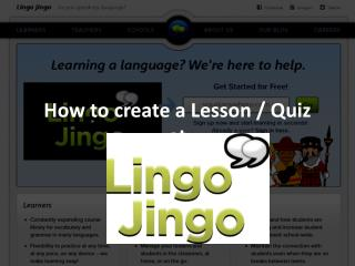 How to Create a Lesson - Lingo Jingo