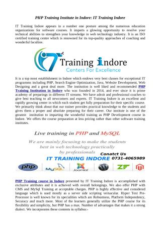IT Training Indore- Best PHP training Institute in Indore