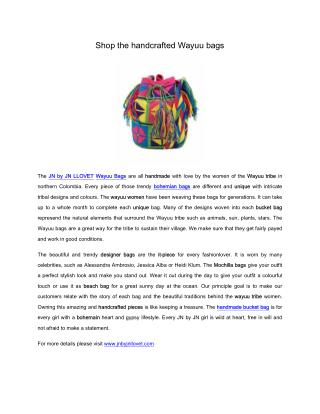 Shop the handcrafted Wayuu bags