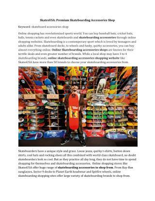 SkatesUSA: Premium Skateboarding Accessories Shop