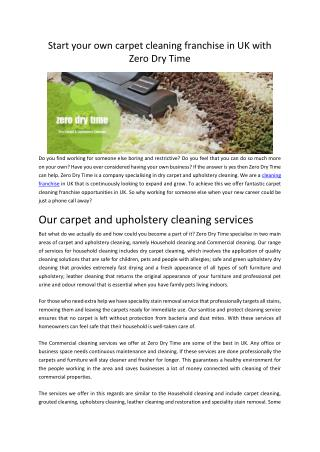 Carpet cleaning franchise UK Opportunities