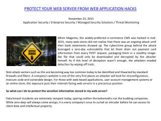 Protect Your Web Server From Web Application Hacks