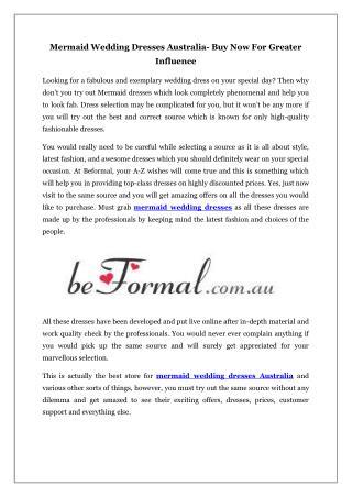 Mermaid Wedding Dresses Australia- Buy Now For Greater Influence