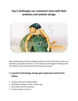 Top 5 challenges our customers have with their websites and website design