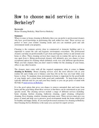 How to choose maid service in Berkeley?