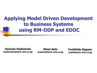 Applying Model Driven Development to Business Systems  using RM-ODP and EDOC