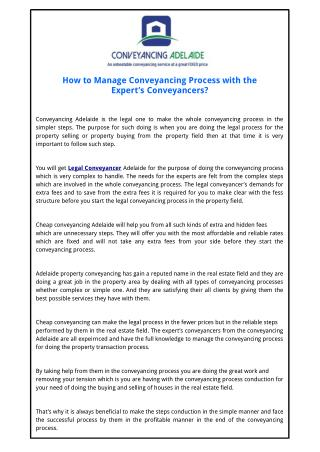How to Manage Conveyancing Process with the Expert�s�Conveyancers?