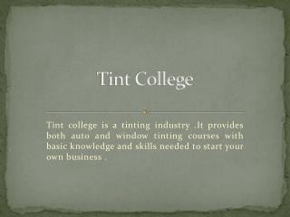 Window Tint Course