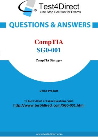 CompTIA SG0-001 Storage  Powered by SNIA Real Test Questions