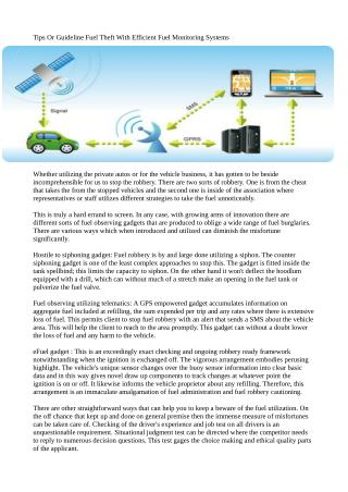 Tips Or Guideline Fuel Theft With Efficient Fuel Monitoring Systems