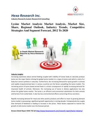 Lysine Market Analysis Market Analysis, Market Size, Share, Regional Outlook, Industry Trends, Competitive Strategies An