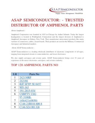 Best quality Amphenol manufacturer products at ASAP Semiconductor