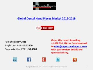 Global Dental Hand Pieces Market Growth Drivers Analysis 2019