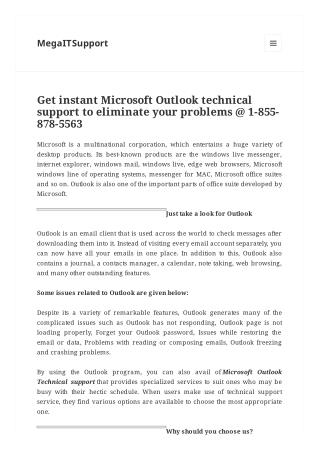 Get instant Microsoft Outlook technical support to eliminate your problems @ 1-855-878-5563