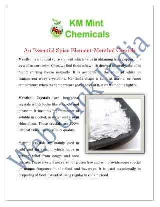 Menthol Crystals Manufacturers Suppliers India