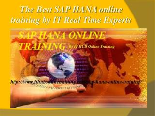 Best SAP HANA online training by ITReal Time Experts