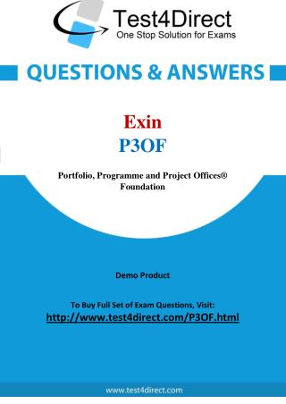 Exin P3OF Portfolio Programme and Project Offices Exam Questions
