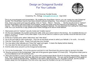 Design an Octagonal Sundial For Your Latitude