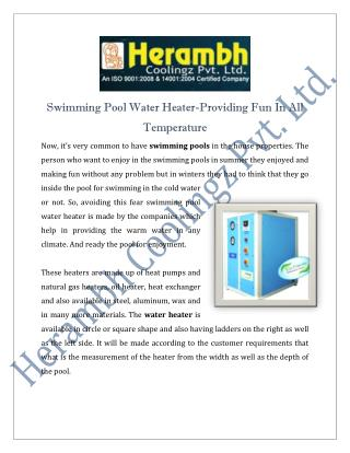 Swimming Pool Water Heater Manufacturers Suppliers India