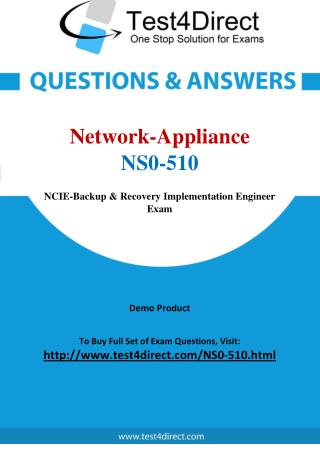 Network Appliance NS0-510 NCIE Real Exam Questions