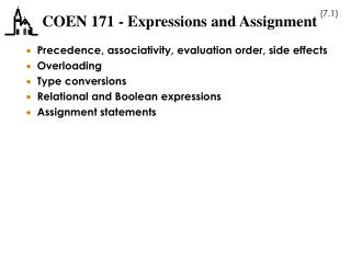 COEN 171 - Expressions and Assignment