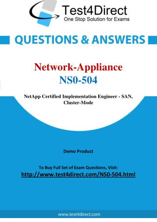 Network Appliance NS0-504 Test Questions
